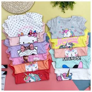 Áo cotton cộc tay in hình hoạt hình bé gái size 1-7, cho bạn từ 10- 22kg. Chất cotton sược siêu mát, hình in đẹp. Lô 1
