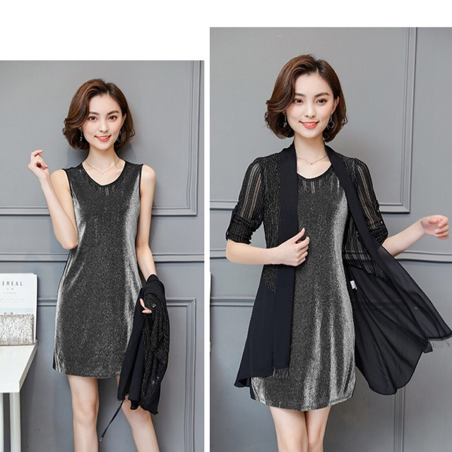 1742784183 - Set đầm thun đen nhũ big size kèm áo khoác size lớn 65-80kg