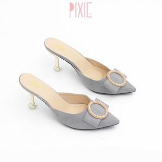Giày Sục Cao Gót 5cm Mũi Nhọn Khóa Tròn Pixie X417