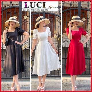 Đầm dự tiệc, Even tay ngắn 2021 màu đen, trắng, đỏ, cổ vuông siêu xinh dễ thương – LUCI Store – Đ998
