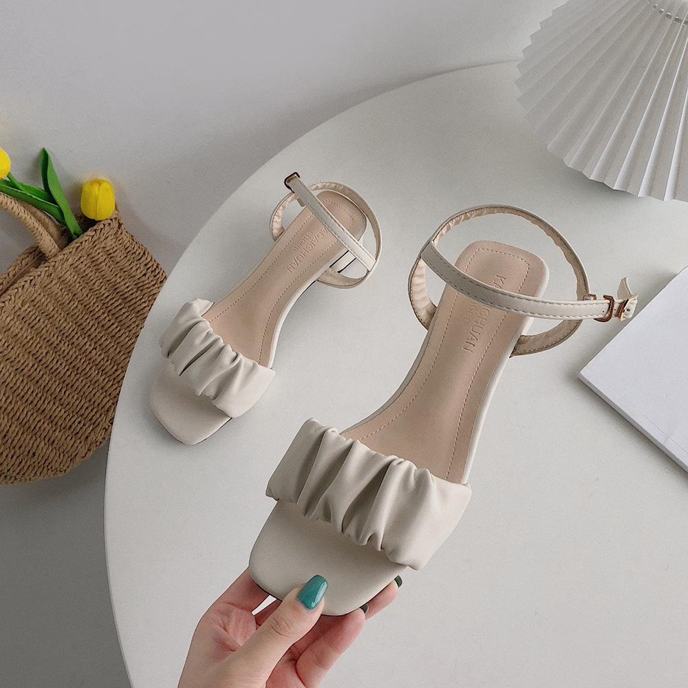 Giày Sandal Cao Gót Phối Xếp Ly Xinh Xắn Dành Cho Nữ
