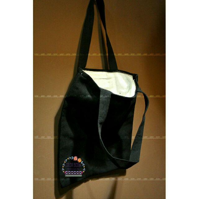 Túi Tote trơn đen trắng