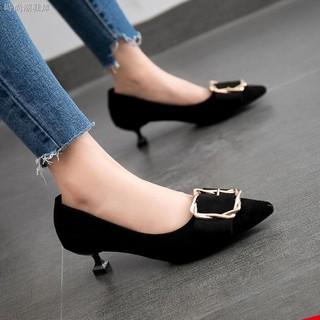 Giày cao gót 3cm 5cm mũi nhọn phối khóa vuông thời trang thanh lịch cho nữ
