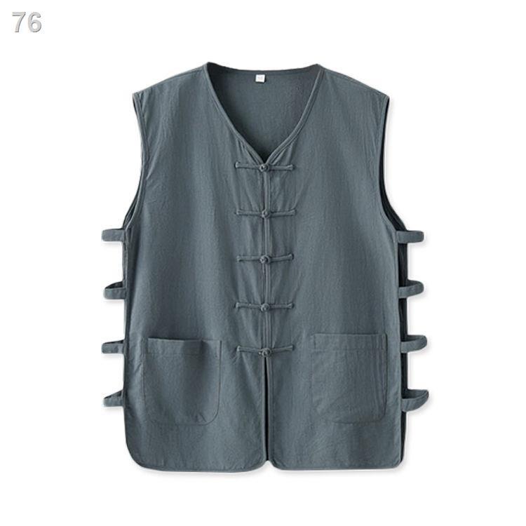 Phong cách Trung Quốc không tay người trung niên và cao tuổi Phù hợp với Tang mỏng áo ghi lê retro áo ghi lê nam mùa hè