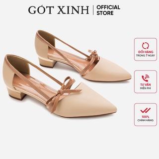 Giày cao gót bít mũi GÓT XINH GX035 da mềm đế vuông cao 3 phân
