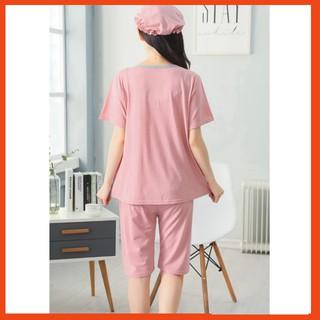 Bộ đồ bầu và sau sinh lửng ngắn tay cotton có thiết kế cho con bú tiện lợi, giá rẻ - hồng AZ20 thumbnail