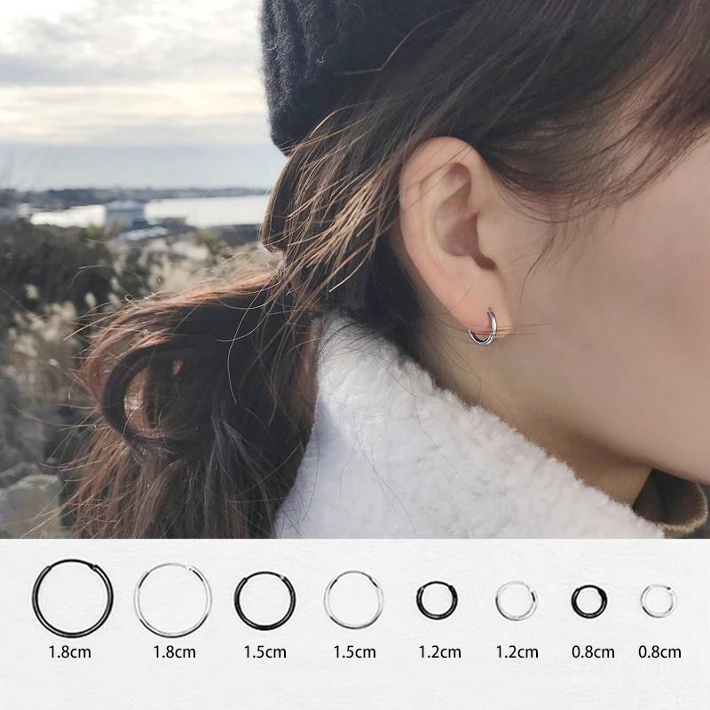 Khuyên tai tròn chất liệu kim loại cá tính nhiều kích cỡ