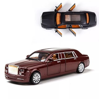Flash Light Up Alloy Metal Toys Car 1:32 Rolls-Royce Simulation Pull Back Vehicles Toys Music Door Can Open