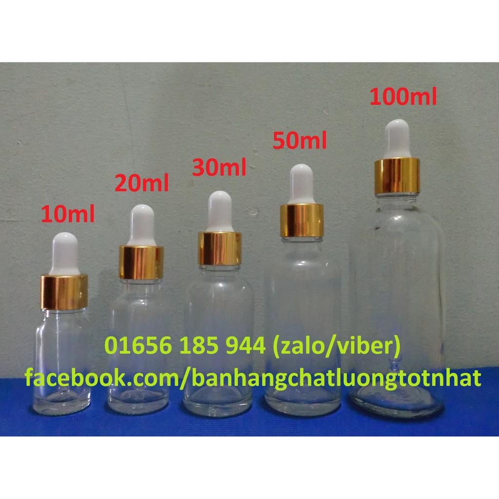 Chai tinh dầu thủy tinh nắp bóp giọt (chai serum)