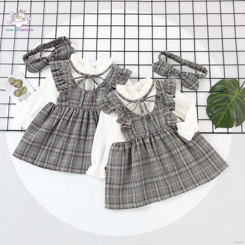 1827696996 - Bộ đầm 2 dây kèm băng đô sọc caro cho bé gái