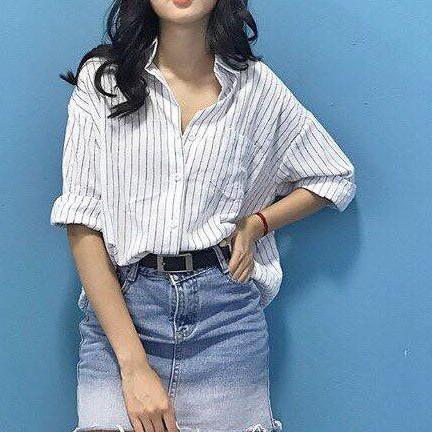 Somi Oversize Kẻ Sọc - Shirt - HNT Sh01 sơ mi uzzlang Hàn