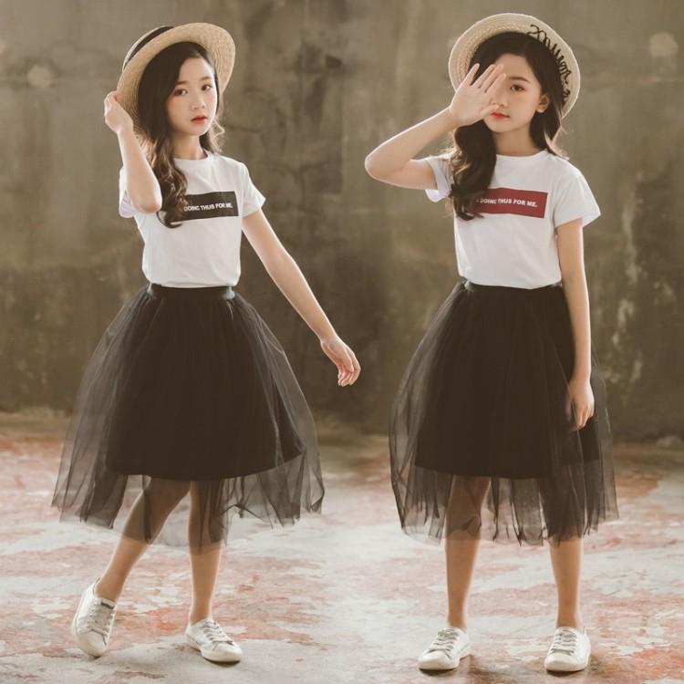 Bộ áo thun tay ngắn + chân váy lưới phong cách Hàn Quốc thời trang xinh xắn cho bé gái