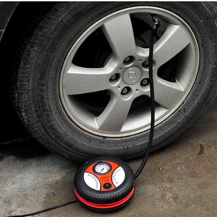 Bơm lốp ô tô, xe máy chuyên dụng 12v Air Compressor HQ206087-2 (Đen phối đỏ)