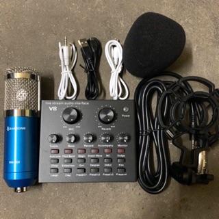 Combo thu âm livestream 2 món mic bm900-sound card v8 kèm dây live lấy nhahc bh 6 tháng