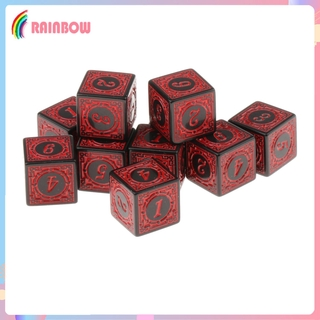[RAINBOW] 10xMulti Sided Acrylic Dices for Table Board Role Playing Game