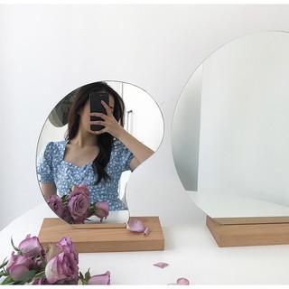 [Chilimart] Gương Để Bàn, Gương Trang Trí Đế Gỗ Sáng Tạo Phong Cách Vintage