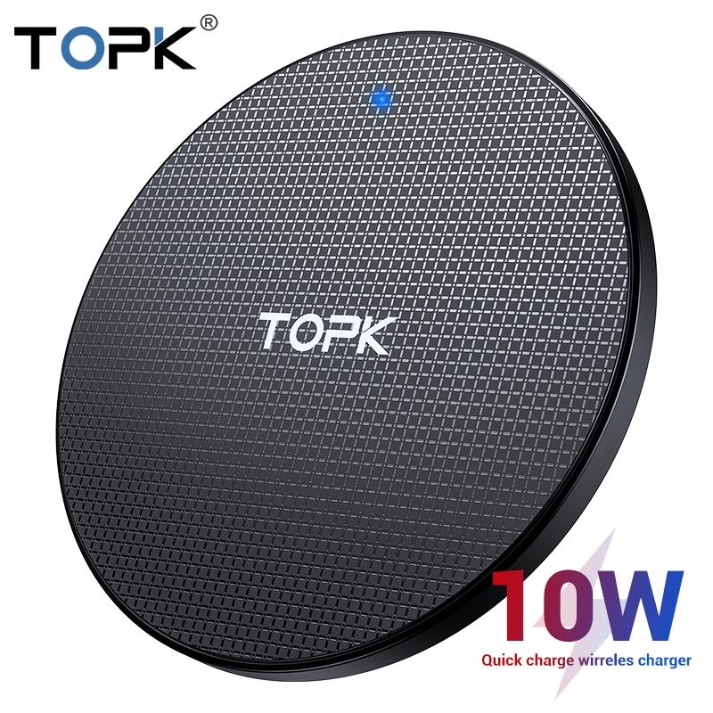 Đệm sạc nhanh không dây TOPK B01W 10W dành cho iPhone Xs Max X 8 Plus Samsung Note 9 Note 8 S10