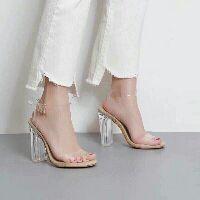 🆘 Sandal trong suốt gót vuông 10 phân giày cao gót màu nude hàng cao cấp full box ( có hộp)