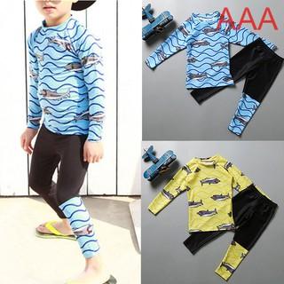 Kids Swimsuits 2Pcs Long Sleeves Tops+Long Pants Swimwear Set Quick Dry Diving Suits
