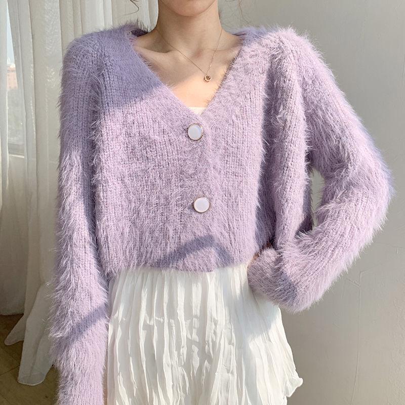 Áo khoác dệt kim phối cashmere dáng ngắn thời trang cao cấp