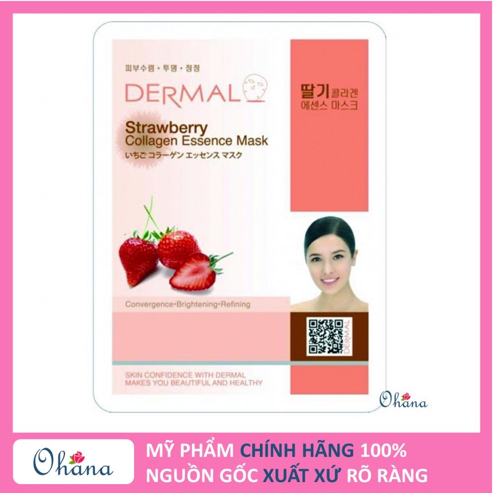 Mặt nạ dưỡng da Dermal Tinh chất Dâu Tây Collagen - Hàn Quốc