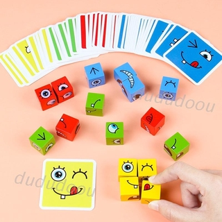 Wooden Expression Puzzle Building Block Magic Face Changing Montessori Education