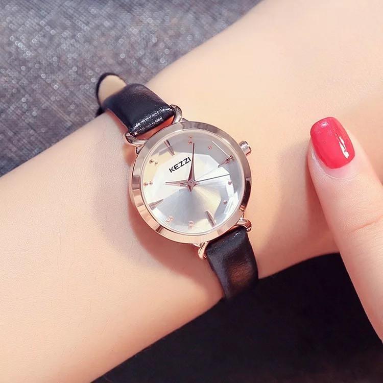 Đồng hồ nữ Kezzi 1651 hàng chính hãng dây da nhỏ xinh mini