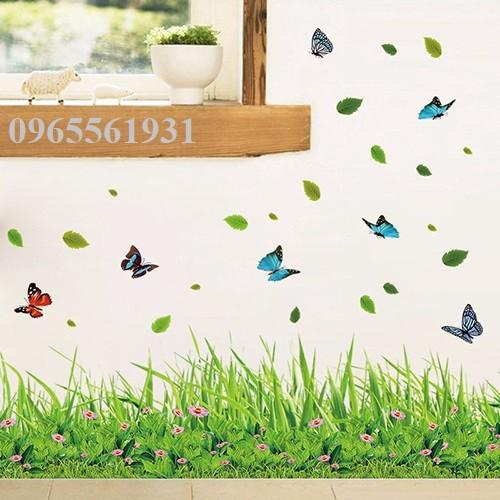 Decal dán tường chân tường cỏ xanh