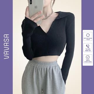 Áo croptop nữ kiểu ôm dài tay có cổ bigsize VAVASA CT06 thumbnail