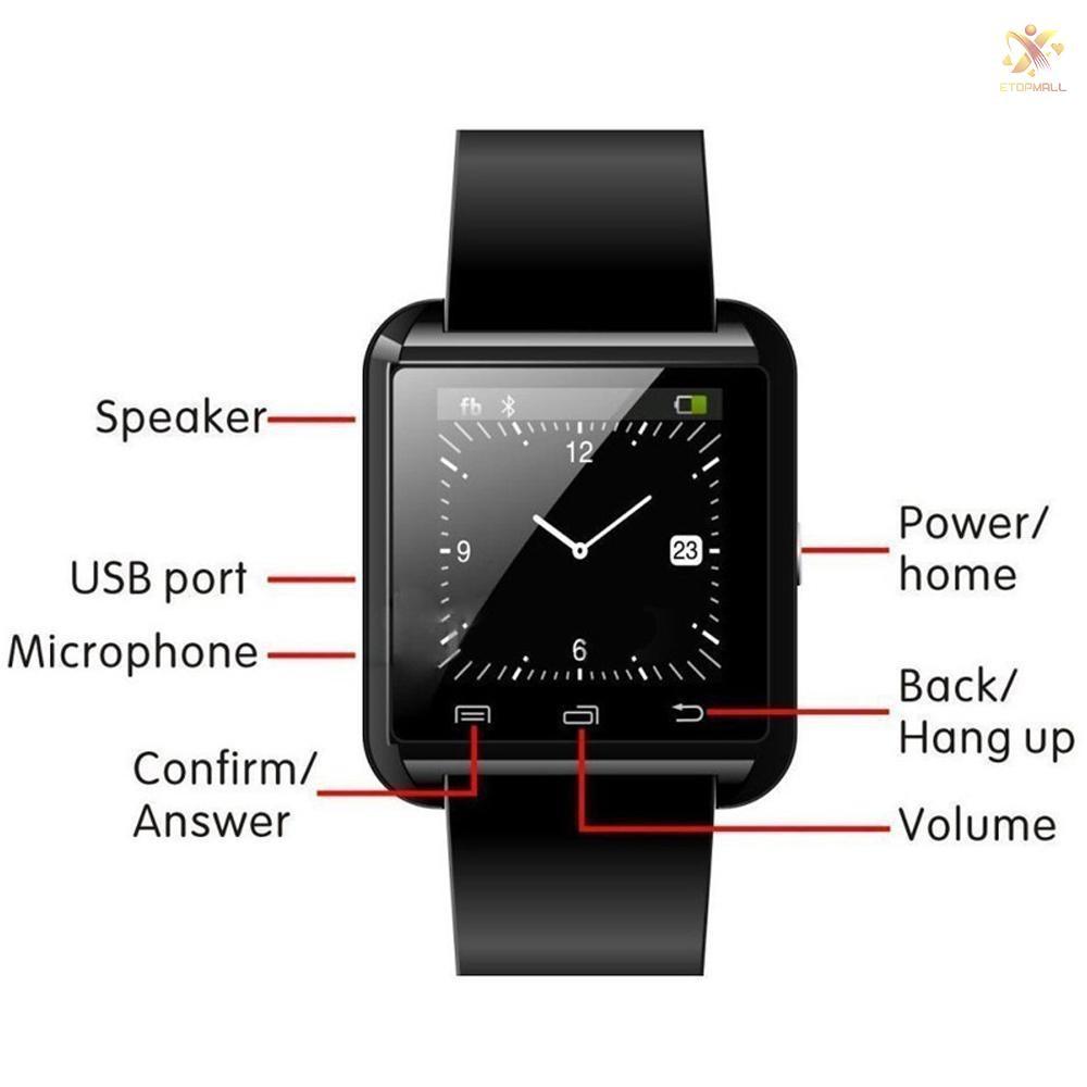 Đồng Hồ Thông Minh U8 Kết Nối Bluetooth Có Chức Năng Đếm Bước Chân Thiết Kế Thể Thao