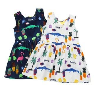 Đầm xòe cotton không tay họa tiết dễ thương cho bé gái