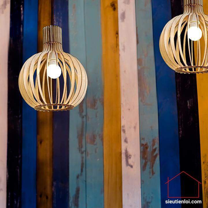 Đèn gỗ trang trí dáng củ tỏi - Đèn trang trí trần nhà phòng khách, phòng ngủ, quán cafe giá rẻ tặng kèm keo dán 502