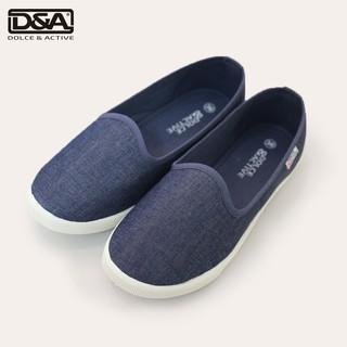 Giày slipon nữ D&A EPL1704 xanh bò và đen