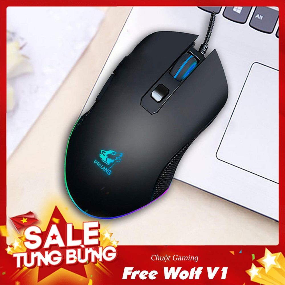 Chuột game thủ Gaming V1 Wolf Black LED RGB - Siêu Bền ( BH 6 tháng )
