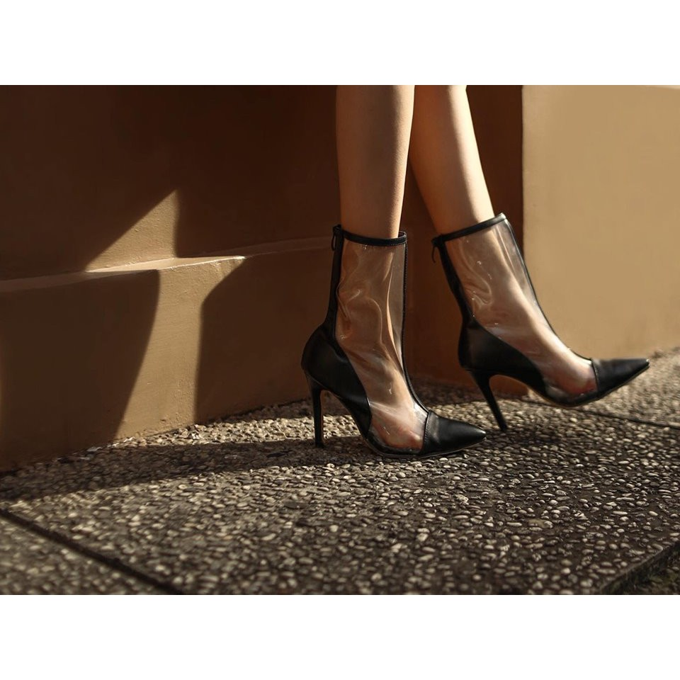 | AMA Footwear | RAINIS BOOTS ĐEN - Bốt trong suốt đen AMA