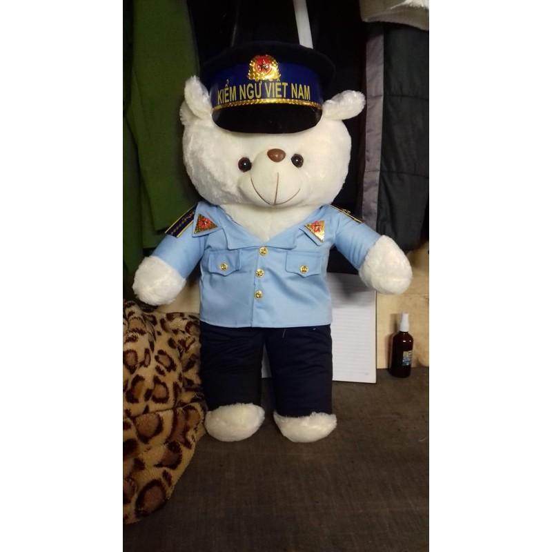 gấu bông quân đội kiểm ngư ( in tên)