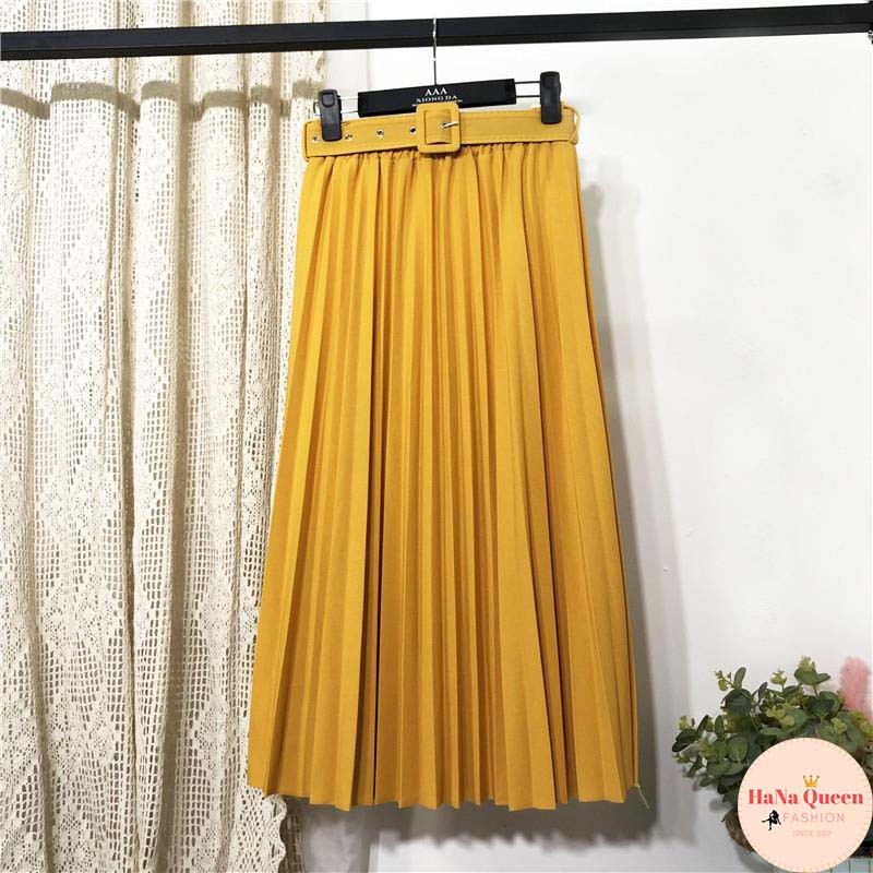 Xả Kho Chân váy dài xếp ly, chân váy Midi xếp ly kèm đai (Hàng Quảng Châu loại 1)