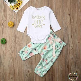 Set áo liền quần ngắn tay + Quần dài họa tiết hoa dễ thương cho bé gái