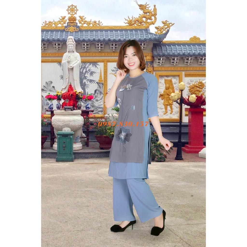 Áo Dài Đi Chùa Thêu Sen