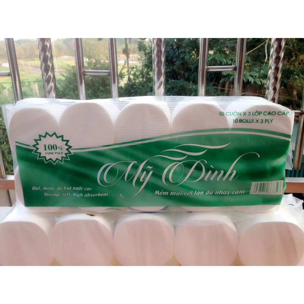 Giấy vệ sinh Mỹ Đình xanh 10 cuộn 3 lớp không lõi