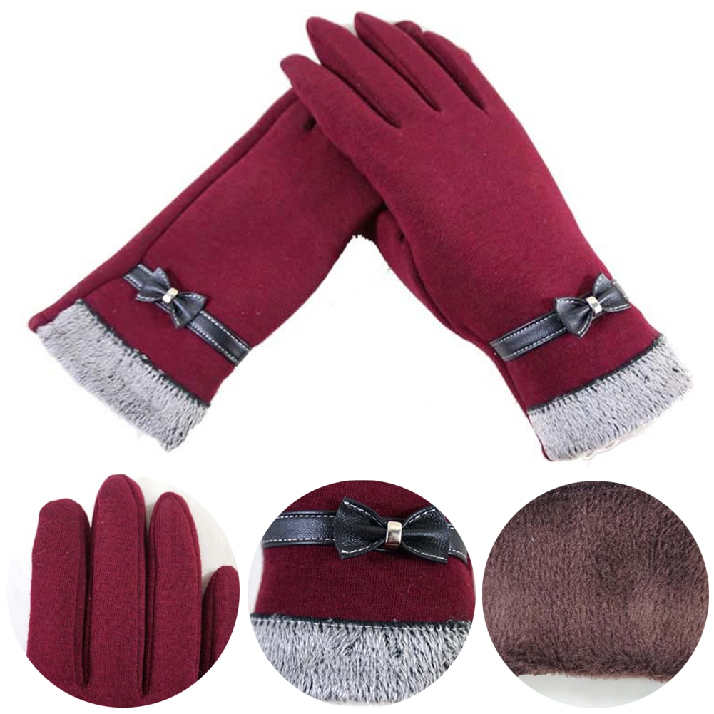 Women Gloves Warm Full Finger Cute Micro Velvet Autumn Winter Bow-knot Mittens