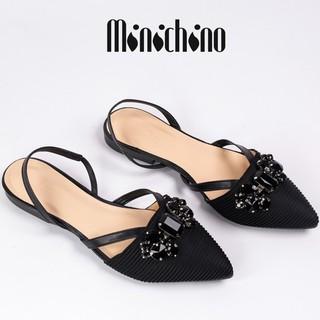 Giày sandal nữ gót cao 1cm MINICHINO mũi nhọn nơ đá, phối dây thời trang màu đen TC033 thumbnail