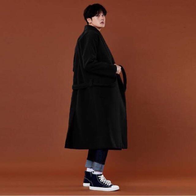 Áo khoác choàng dạ măng tô nam cao cấp lông Cừu có đai