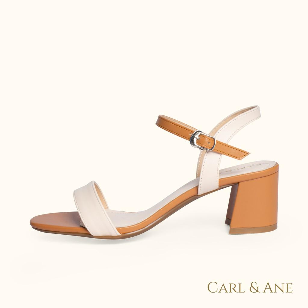 Carl & Ane - Giày sandal thời trang nữ mũi vuông phối dây nhiều màu tinh tế cao 5cm màu kem phối bò_ CS004