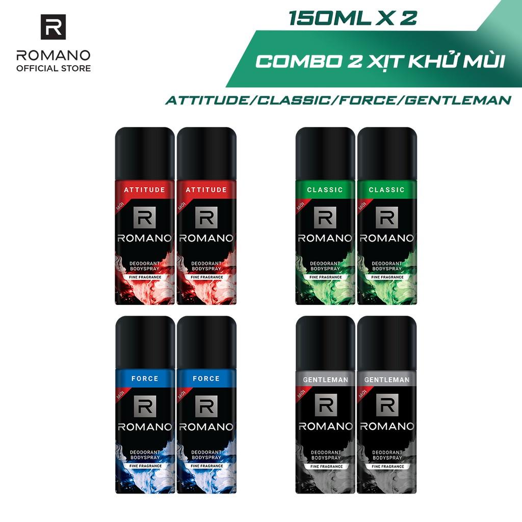 Combo 2 Xịt toàn thân Romano ngăn mồ hôi và mùi cơ thể 150ml/chai