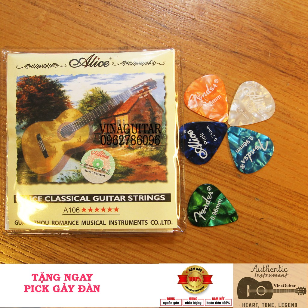 Dây Đàn Guitar Classic Alice A106 dây nilon chính hãng ( Tặng 1 pick gảy )