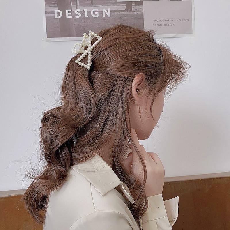 Kẹp Tóc Hình Nơ Đính Ngọc Trai Phong Cách Hàn Quốc