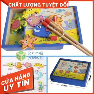 Bộ đồ chơi câu cá nam châm bằng gỗ 32 chi tiết phát triển IQ cho bé.