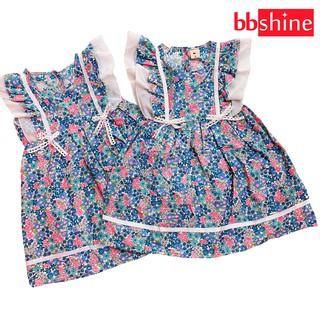 Đầm xòe cánh tiên cho bé gái 1-7 tuổi chất cotton nhẹ mát họa tiết hoa nhí màu sắc tươi tắn phối nơ ở eo BBShine – D065