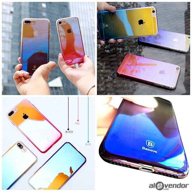 Ốp Iphone trong suốt đổi màu Chính hãng BASEUS glaze case cho IP 6 6s 6plus 6s plus 7 7plus 8 8plus